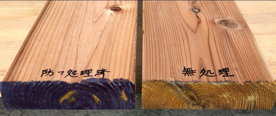 ③防腐処理済の材(写真左)は、薬剤が中まで浸透しているため、断面全体が青色に染まります。